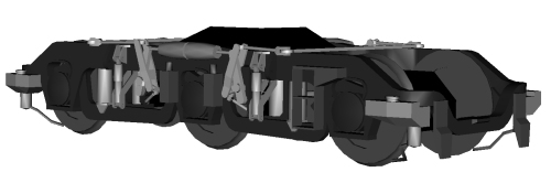 The external brake rigging is now complete, having at last found a good closeup of the original bogie with discernable details. Sadly, the complexity of that brake rigging has added ever more polygons though...
